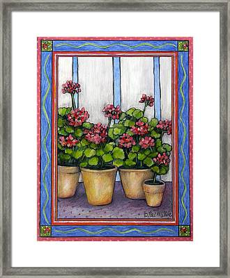 Porch Geraniums Framed Print by Gail McClure
