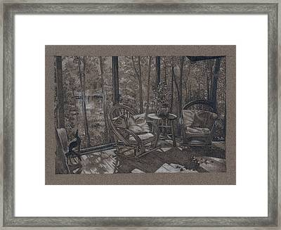 Porch In Woods Framed Print by Penny Cash