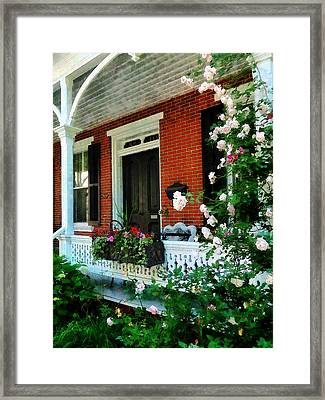 Porch With Climbing Roses Framed Print