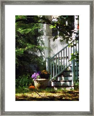 Porch With Urn And Pumpkin Framed Print by Susan Savad