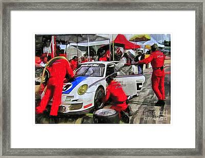 Porche Pit Crew Framed Print by Tom Griffithe