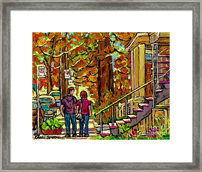 Porches Balconies Staircases Beautiful Verdun Autumn Painting Streetscene Art Couple Stroll Montreal Framed Print
