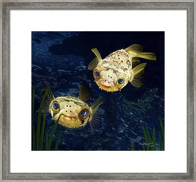 Porcupine Puffer  Framed Print by Thanh Thuy Nguyen