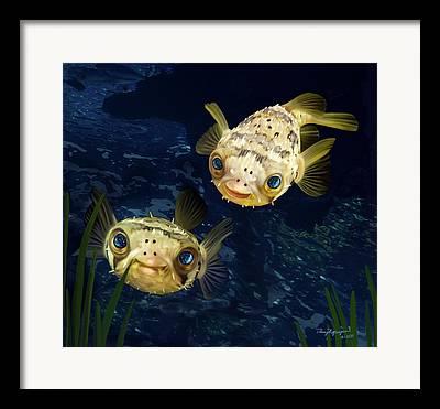 Porcupine Fish Digital Art Framed Prints