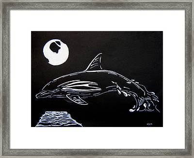Framed Print featuring the drawing Porpoise Sillhouette by Mayhem Mediums