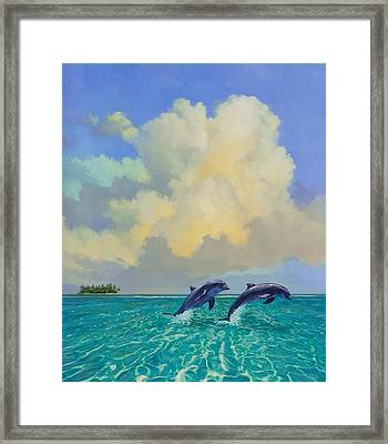 Porpoiseful Play Framed Print by David  Van Hulst