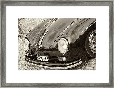Porsche 356 Lines In Sepia Framed Print by Georgia Fowler