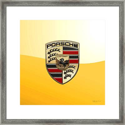 Porsche - 3d Badge On Yellow Framed Print