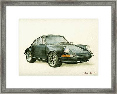 Porsche 911 Classic Car Art Framed Print by Juan  Bosco