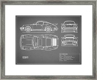 Porsche 911 Turbo Blueprint - Gray Framed Print by Mark Rogan