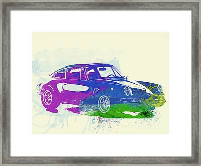 Porsche 911 Watercolor Framed Print by Naxart Studio