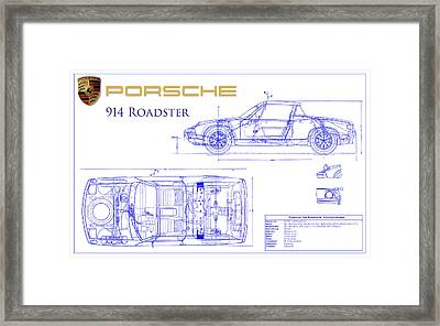 Porsche 914 Blueprint Framed Print
