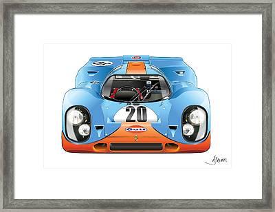 Porsche 917 Gulf On White Framed Print by Alain Jamar