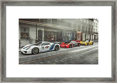 Porsche 918 Mclaren F1 Gtr And Ferrari 458 Specialea Framed Print