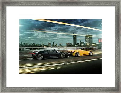 Porsche 918 Spyder And Pagani Huayra Framed Print
