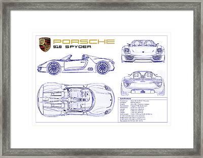 Porsche 918 Spyder Blueprint Framed Print