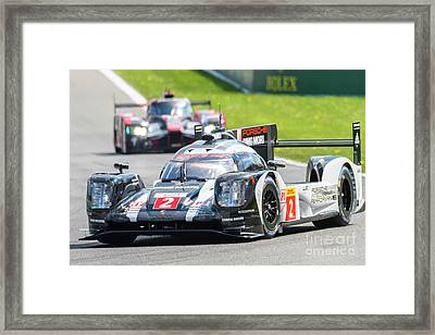 Porsche 919 Hybrid And Audi R18 Race Cars Framed Print by Sjoerd Van der Wal