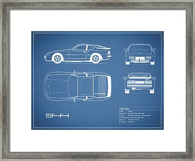 Porsche 944 Blueprint Framed Print