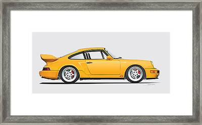 Porsche 964 Carrera Rs Illustration In Yellow. Framed Print