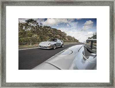 Porsche 993 Gt2 With Carrera Gt And 1973 2.7 Rs Framed Print