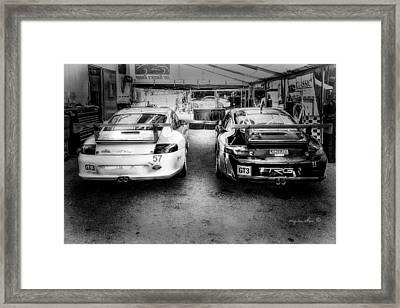 Porsche G T 3 B W _ Mid Ohio Raceway Framed Print by Michael Rankin