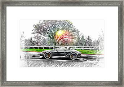 Framed Print featuring the photograph Porsche Gt In Oil by Aaron Berg
