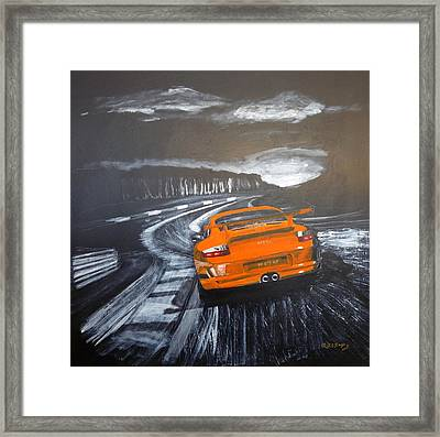 Framed Print featuring the painting Porsche Gt3 @ Le Mans #3 by Richard Le Page