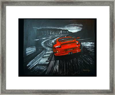 Framed Print featuring the painting Porsche Gt3 Le Mans by Richard Le Page