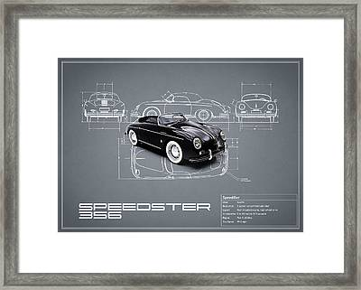 Porsche Speedster Blueprint Framed Print by Mark Rogan