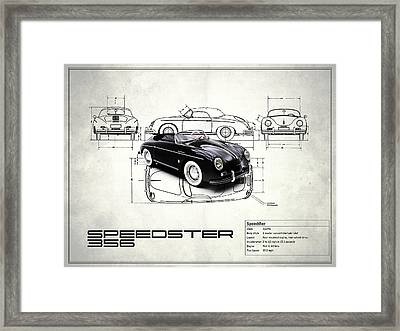 Porsche Speedster Blueprint - White Framed Print by Mark Rogan