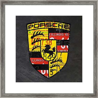 Porsche Sports Car Logo Recycled Vintage License Plate Car Tag Art Framed Print