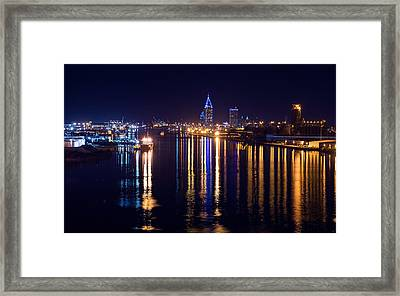 Port City In Blue Framed Print