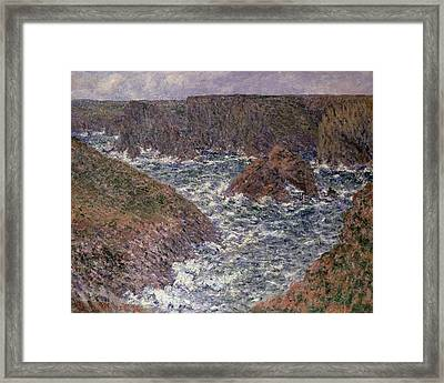 Port Domois At Belle Ile Framed Print by Claude Monet