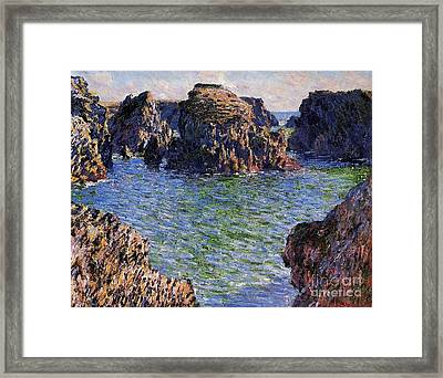 Port Goulphar Belle Ile Brittany Framed Print by Claude Monet