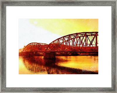 Port Jervis Ny Bridge - Sienna Skies  Framed Print by Janine Riley