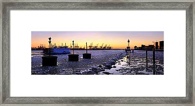 Framed Print featuring the photograph Port Of Hamburg Winter Sunset by Marc Huebner