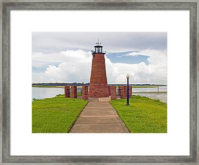 Port Of Kissimmee Lighthouse In Central Florida Framed Print by Allan  Hughes