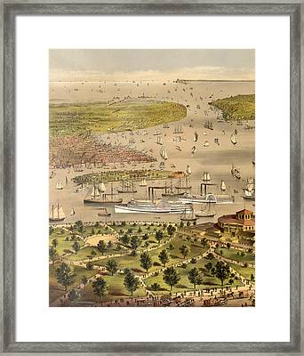 Port Of New York, Birds Eye View From The Battery Looking South, Circa 1878 Framed Print by Currier and Ives