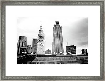 Framed Print featuring the mixed media Port Of San Francisco Black And White- Art By Linda Woods by Linda Woods