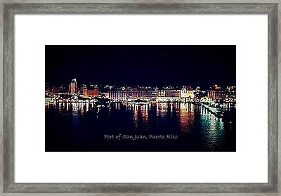 Framed Print featuring the photograph Port Of San Juan Night Lights by DigiArt Diaries by Vicky B Fuller