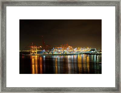 Port Of Vancouver Bc At Night Framed Print