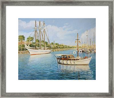 Port Vell In Barcelona Framed Print