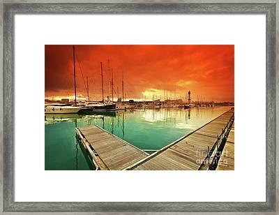 Port Vell - Marina In Barcelona, Spain Framed Print by Thomas Jones