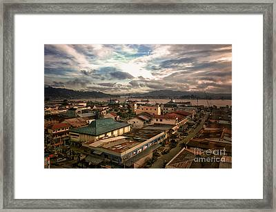 Port View At River Mahakam Framed Print