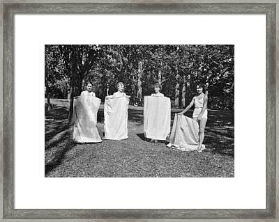Portable Bath Houses Framed Print by Underwood Archives