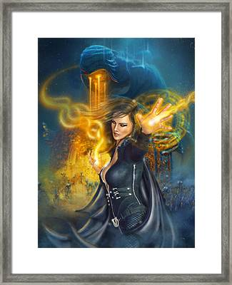 Framed Print featuring the digital art Portal Magician by Uwe Jarling