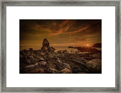 Porth Saint Beach At Sunset. Framed Print