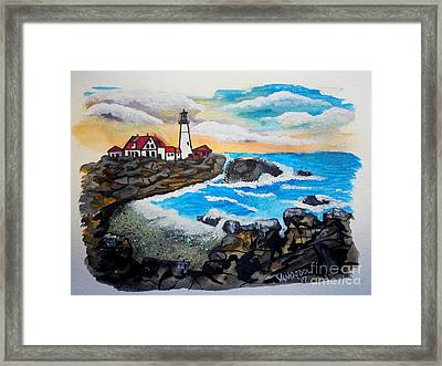 Porthead Lighthouse Maine In Watercolors Framed Print