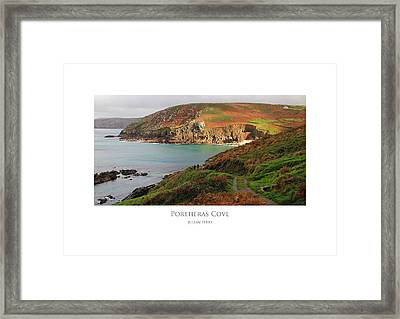 Framed Print featuring the digital art Portheras Cove by Julian Perry