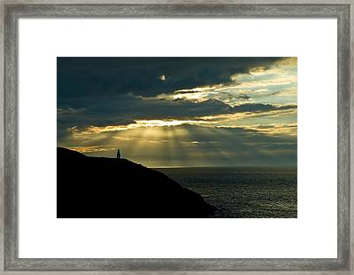 Porthgain Sunbeams Framed Print by Gareth Davies